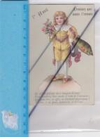 Chromos Découpis Gaufré ; 1er Avril (Petit Garçon ,poisson,fleurs).Devinez Qui Vous L'envoie...(dos Signé Henri) - Autres