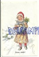 Bonne Année. Petite Fille Dans La Neige, Chats, Houx. Signée Feiertag 1913 - Feiertag, Karl