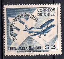 Chile  1954 -  Airmail - The 25th Anniversary Of National Airline - Chile