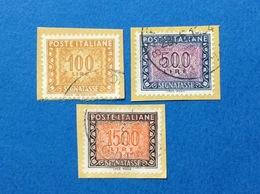 SEGNATASSE 100 500 1500 LIRE IPZS ITALIA FRANCOBOLLO USATO STAMP USED - 1946-.. Republiek