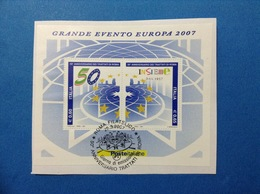 2007 ITALIA FOGLIETTO USATO SOUVENIR SHEET USED TRATTATI DI ROMA - 6. 1946-.. Repubblica