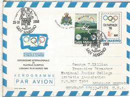 SAN MARINO AEROGRAMA OLYMPHILEX 85 LAUSANNE MAT BOPHILEX 1986 - Juegos Olímpicos