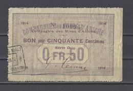 Bon Nécessité  Compagnies Des Mines D'ANICHE  Bon De 50c - Bons & Nécessité