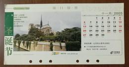 Cathédrale Notre Dame De Paris,Notre-Dame De Paris Senna River,calendar Type Perforated,CN04 Christmas Day Greeting PSC - Churches & Cathedrals