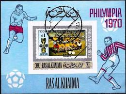 "Ras Al Khaimah 1970 - Mi Bl B95 B - YT BF 58 ( Philatelic Exhibition "" Philympia 70 "" - Football ) Imperforated - Ras Al-Khaimah"