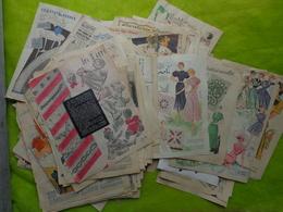 + 700g De Feuilles Tirees Dans Des Revues-mode-monogrammes-couture- Bavoir-tricotage Etc...des Annees 50 - Unclassified