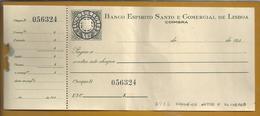 Cheque Do Banco Espirito Santo E Comercial De Lisboa Usado Em 1940. Selo De Cheque Em Relevo. Check Stamp In Relief. Rar - Schecks  Und Reiseschecks