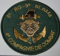 Rare écusson Tissu Du 6e RG-9e BLBMa 4e Compagnie De Combat - Ecussons Tissu