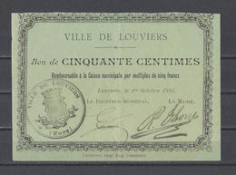 Bon Nécessité  Ville De LOUVIERS  Bon De 50c - Bonos