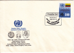 Lituanie   Lietuva 1992 , Estonia, Latvia , Lithuania - Member Of UN , Flag , FDC - Lithuania