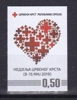 Bosnia Serbia 2019 Red Cross Croix Rouge Rotes Kreuz Cruz Roja Croce Rossa Flags Self-adhesive Sticker - Bosnia And Herzegovina