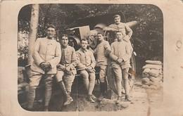 Rare Photo Carte Hommes Devant Canon Sur Le Front Du 313 E Artillerie - 1914-18