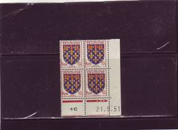N° 899 - 10c Blason De L'ARTOIS - A De A+B - 3° Tirage Du 20.9.51 Au 1.10.51 - 21.09.1951 - - Coins Datés