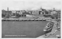 "0555 ""STOCKHOLM - NORRSTRÖM MED STROMBRÖN "" ANIMATA, BATTELLI, TRAMWAY AUTO ANNI '40, CART. ORIG. SPED 1950. - Svezia"