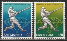 San Marino 1978 - Baseball - 2 Valori MNH ** - San Marino