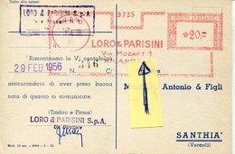 45130 Italia, Red Meter Freistempel Ema, Milano 1956  Via Mozart,  Mozart Road,  Circuled Card, R - Musique