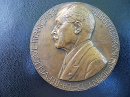 Ancienne Médaille Bronze  Signée Henry Dropsy. Président De La République ALBERT LEBRUN 1932 - France
