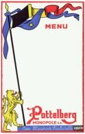 Menu. Pottelberg. Eau Minérale Naturelle. S.A.Monopole. Kortrijk/Courtrai. Lion Et Drapeau Belge. - Menus