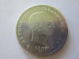 5 LIRE NAPOLEONE IMPERATORE E RE ARGENT 1808 M - Temporary Coins
