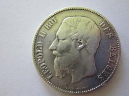 5 FRANCS LEOPOLD II ROI DES BELGES EN  ARGENT 1871 - 09. 5 Francs