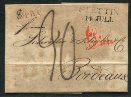 Preussen / 1825 / Vorphila-Transitbrief L2-Stempel STETTIN Nach Bordeaux (15327) - Germany