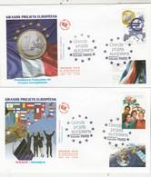 France Lot 2 Enveloppes   FDC 2008 Yvert 4245 à 4248 Grands Projets Européens - FDC