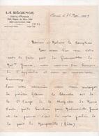 LETTRE DATEE DE 1939 SUR PAPIER EN-TETE DE L'HOTEL PENSION LA REGENCE 224 DIGUE DE MER A OSTENDE -( OOSTENDE ) - Manuscrits