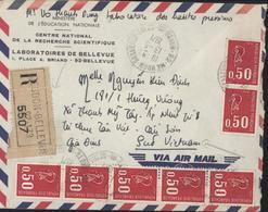 YT 1664 Marianne Bequet X7 Lettre Recommandée CAD Meudon Bellevue13 5 1971 Pour Viet Nam Arrivée Gia Binh 19 5 71 - Marcofilie (Brieven)