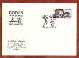 Illustrierter Umschlag Schach Mit Inhalt, Postkutsche, Boras 1980 (74260) - Briefe U. Dokumente