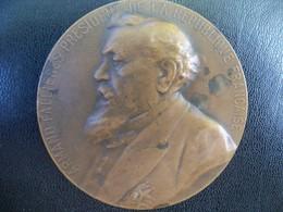 Ancienne Médaille Bronze  Signée Leon Deschamps. Président De La République ARMAND FALLIERES - France