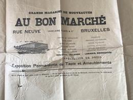 GRANDE AFFICHE PUBLICITAIRE ANCIENNE AU BON MARCHE RUE NEUVE BRUXELLES - Espagne