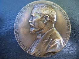 Ancienne Médaille Bronze  Signée Chaplain. Président De La République EMILE LOUBET. - France