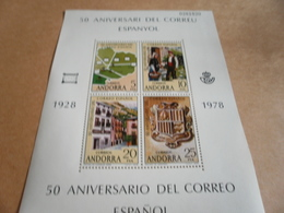 Miniature Sheet Andorra 50th Anniversary Of Postal Service 1978 - Spanish Andorra