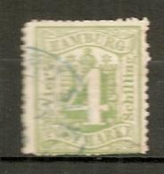 HAMB - Yv. N° 18 Mi. N° 16  Filigrane WZ1 D. 13 1/2 (o)   4s Vert Cote 25 Euro  BE  2 Scans - Hamburg