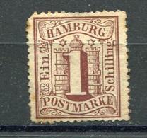 HAMB - Yv. N° 14 Mi. N° 11  Filigrane WZ1 D. 13 1/2 (*)   1s  Brun Cote 7,5 Euro  BE R 2 Scans - Hamburg