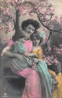 BEAUTIFUL YOUNG GIRLS & MOTHER~HARTELIJK GEFELICITEERD~1918 DUTCH PHOTO POSTCARD 40749 - Kinder