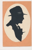 Silhouette Hat  Man,  Homme Original Vintage Hand Made Silouette Siluette Old Card - Silhouette - Scissor-type