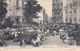 Liège Le Marché Place Cockerill Et La Poste Circulée En 1905 Avec Ambulant Quiévrain à Douai Voir Verso - Liege