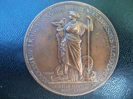 RARE Ancienne Médaille Cuivre Société De Tempérance Association Francaise Contre L'abus Des Boissons Alcoolisées 1872. - France