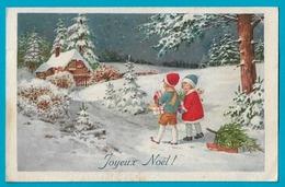 Joyeux Noel -enfants Avec Cadeaux Poupée Sapin Dans Paysage De Neige - Navidad