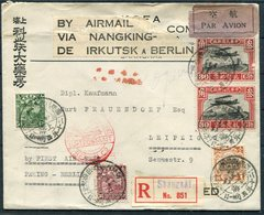 1931 China Registered Eurasia First Flight Cover. Peking - Berlin Germany. Shanghai Nanking Irkutsk Leipzig - Chine
