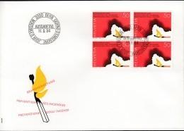 SCHWEIZ  1283 4erBlock MeF, FDC, Brandverhütung 1984 - Blocks & Kleinbögen