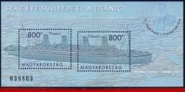 Ref. HU-V2012-3 HUNGARY 2012 SHIPS, BOATS, 100 YEARS SINKING TITANIC, S/S MNH 2V - Ungarn