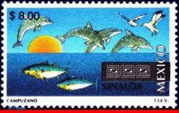 Ref. MX-2138 MEXICO 2001 - TOURISM SINALOA,, DOLPHIN, BIRDS, FISH, (8.00P), MNH, CITIES 1V Sc# 2138 - Poissons
