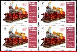 Ref. BR-1109-Q BRAZIL 1968 RAILWAYS, TRAINS, CENT.OF THE SAO PAULO, RAILROAD, OLD LOCOMOTIVE, BLOCK MNH 4V Sc# 1109 - Treni