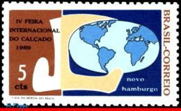 Ref. BR-1117 BRAZIL 1969 INDUSTRY, SHOE FAIR, NOVO HAMBURGO,, GLOBE, MI# 1206, MNH 1V Sc# 1117 - Ungebraucht