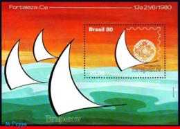 Ref. BR-1701 BRAZIL 1980 PHILATELIC EXHIBITION, YACHT SAIL, BRAPEX IV,, SHIPS & BOATS, MI# B42, MNH 1V Sc# 1701 - Barche