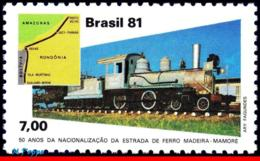 Ref. BR-1750 BRAZIL 1981 RAILWAYS, TRAINS, MADEIRA-MAMORE RAILROAD,, MI# 1834, MNH 1V Sc# 1750 - Trains