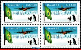 Ref. BR-2096-Q BRAZIL 1987 PLANES, AVIATION, AIR FORCE C-130 TRANSPORT, PLANE, FLAG, ANTARCTIC, BLOCK MNH 4V Sc# 2096 - Expéditions Antarctiques