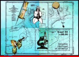 Ref. BR-2127 BRAZIL 1988 SCIENCE, ANTARCTIC RESEARCH, MAPS,, MICROSCOPE, MI# B72, S/S MNH 1V Sc# 2127 - Basi Scientifiche